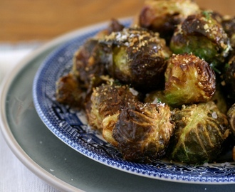 cripsy fried brussels sprouts with poor man's parmesan