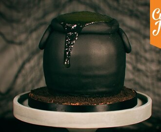 How to make a Slime-Filled Bubbling Cauldron Cake for Halloween | Cupcake Jemma