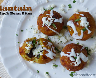 Plantain and Black Bean Bites with Cotija and Crema Drizzle