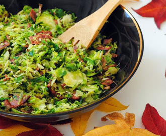 Give Thanks + Brussels Sprouts with Bacon, Rosemary, and Lemon