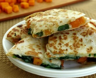 Butternut Squash and Spinach Quesadillas for #SundaySupper
