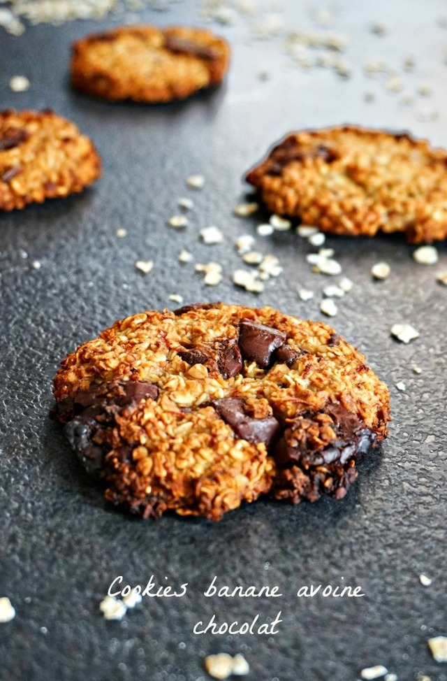 Cookies banane chocolat flocons d'avoine