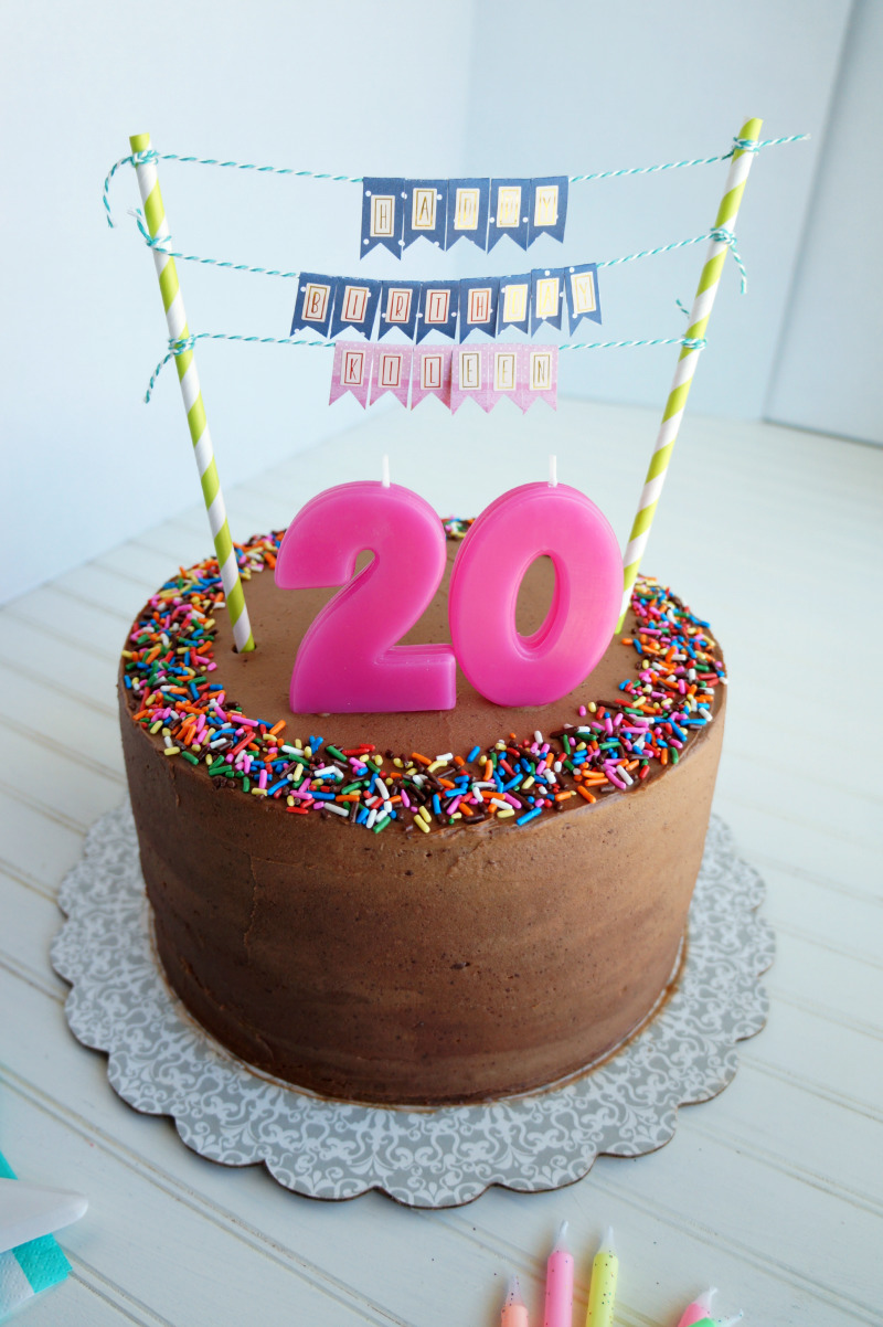 20th birthday chocolate confetti cake