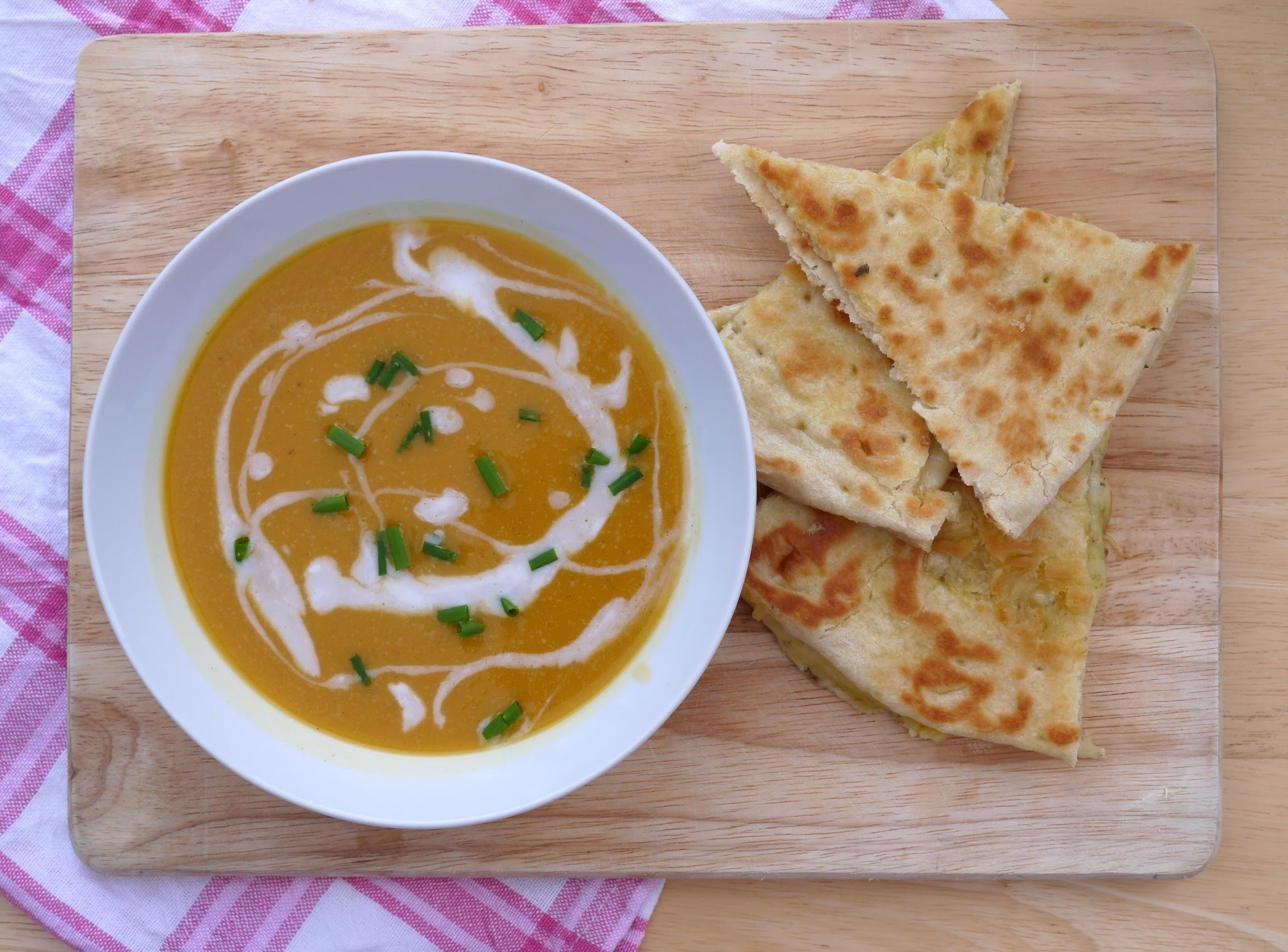 Roasted Butternut Squash Soup + Smoky Cheddar Za'atar Naan Dippers.