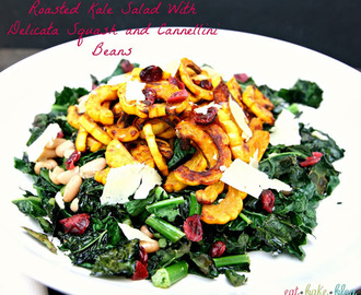 Roasted Kale Salad With Delicata Squash and Cannellini Beans