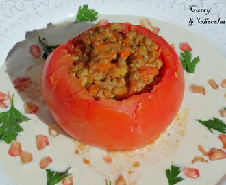 Stuffed tomatoes with nogada  or walnut sauce.