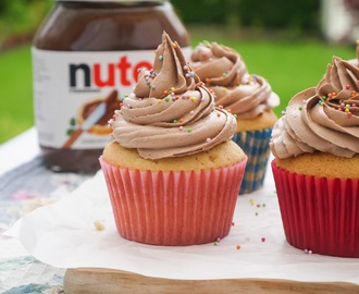 Vanilla Cupcakes with Whipped Nutella Buttercream.