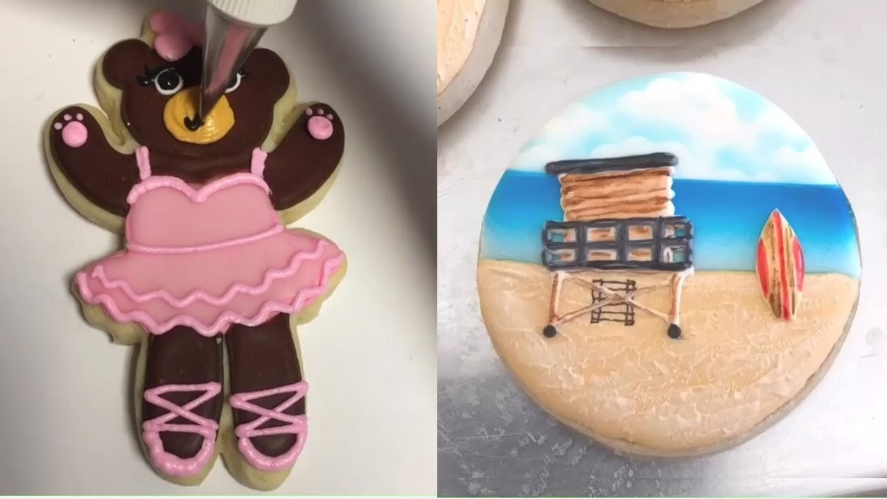 How To Make Cookie Art Decorating icing sugar  #CookiesDecorating Tutorial satisfying