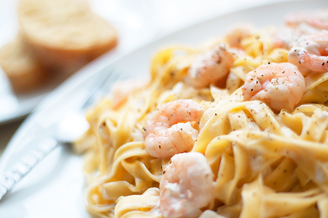 Low-Fat Creamy Pepper Prawn Tagliatelle Recipe