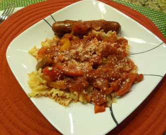 Spicy Red Pepper Arrabbiata sauce with Mafalda Pasta!