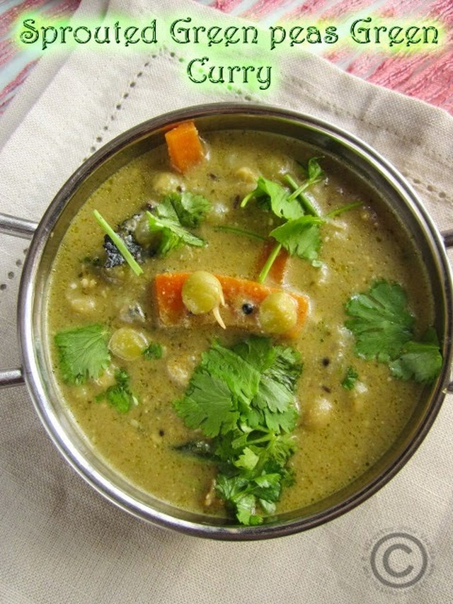 SPROUTED GREEN PEAS GREEN CURRY I GREEN PEAS GREEN KURMA I SIDE DISH FOR CHAPATHI/POORI/PARATHA