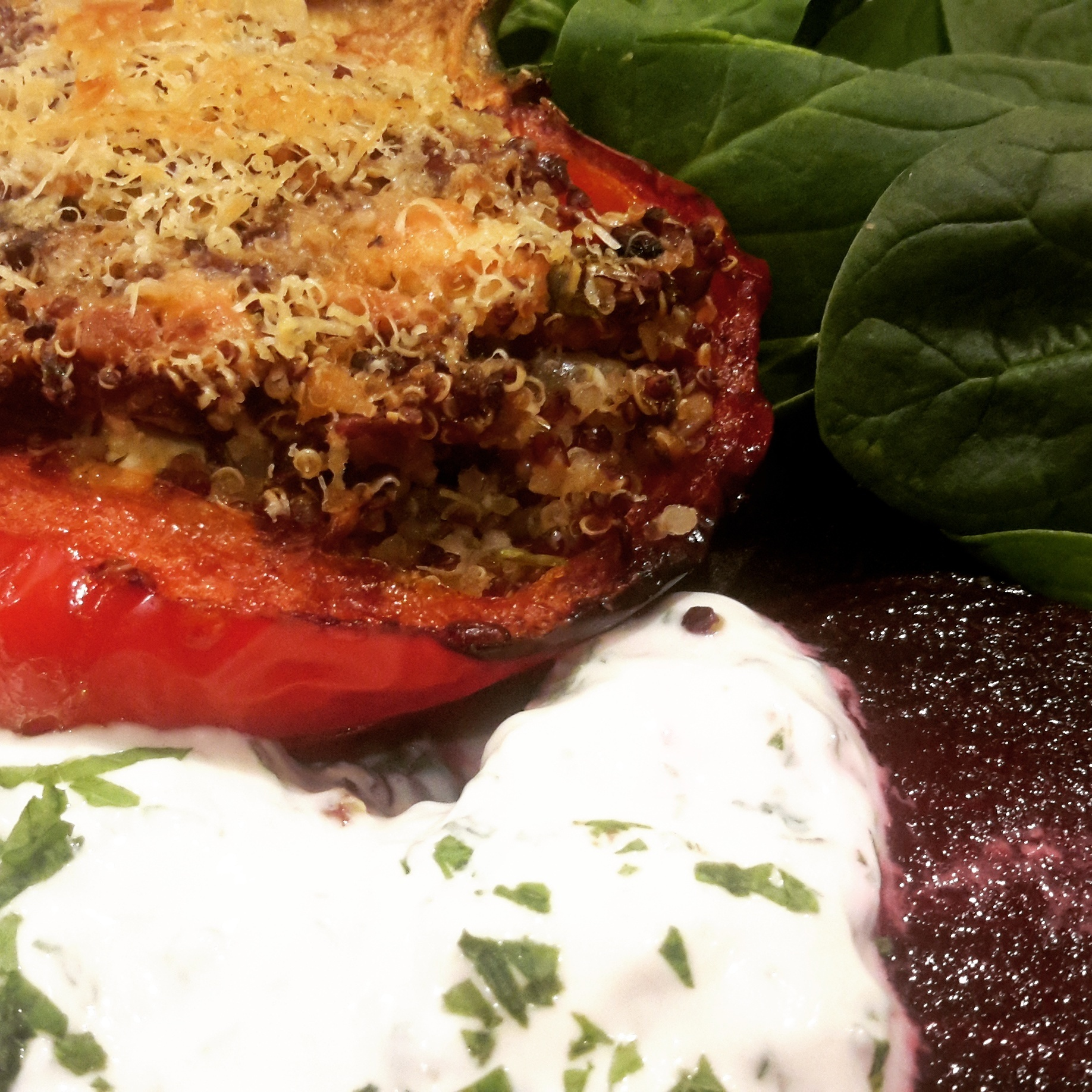 Quinoa, feta & herb stuffed peppers with a yogurt & mint beetroot salad