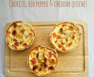 Chorizo, red pepper and cheddar quiches