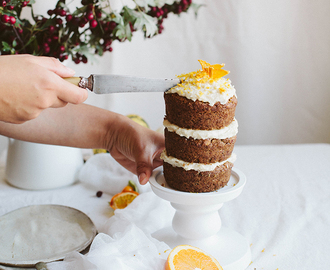 "Mini Pumpkin Cake with Almond ""Cream Cheese"" Frosting"