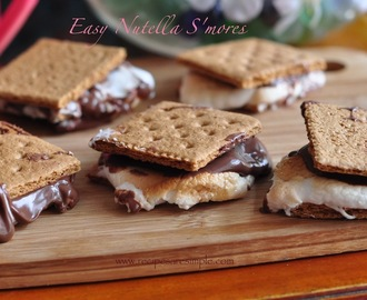 Easy  Nutella S'mores – Graham Cracker, Nutella and Marshmallow.