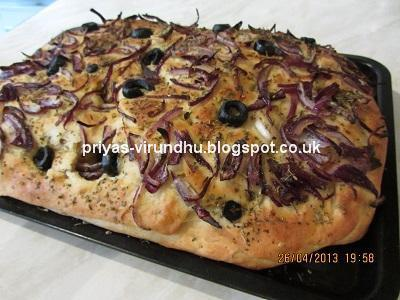 Focaccia Bread with Onions, Olives & Herbs [Italian Bread]