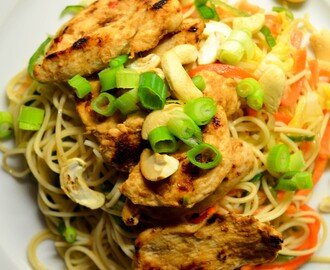 Thai Style Lemongrass Chicken and Egg Noodle Salad