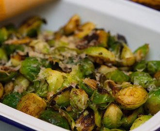 Sautéed Brussels sprouts with lemon, garlic and cheese