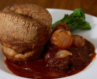 Beef feather blade & marrow stifado with Greek style Yorkshire Pudding