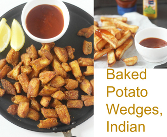 Baked Potato Wedges: Two Kinds: Red Chilli and Coriander Powder and Salted