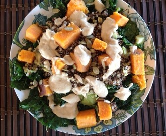 Kale, Sweet Potato, Quinoa, Tahini Salad