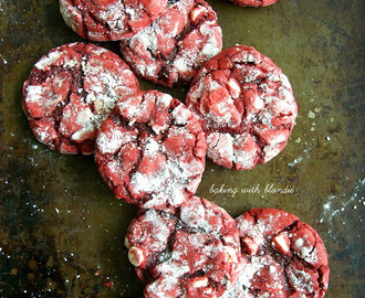 White Chocolate Chip Red Velvet Crinkle Cookies