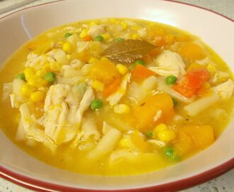 Chicken & vegetable dinner soup - golden gorgeousness.