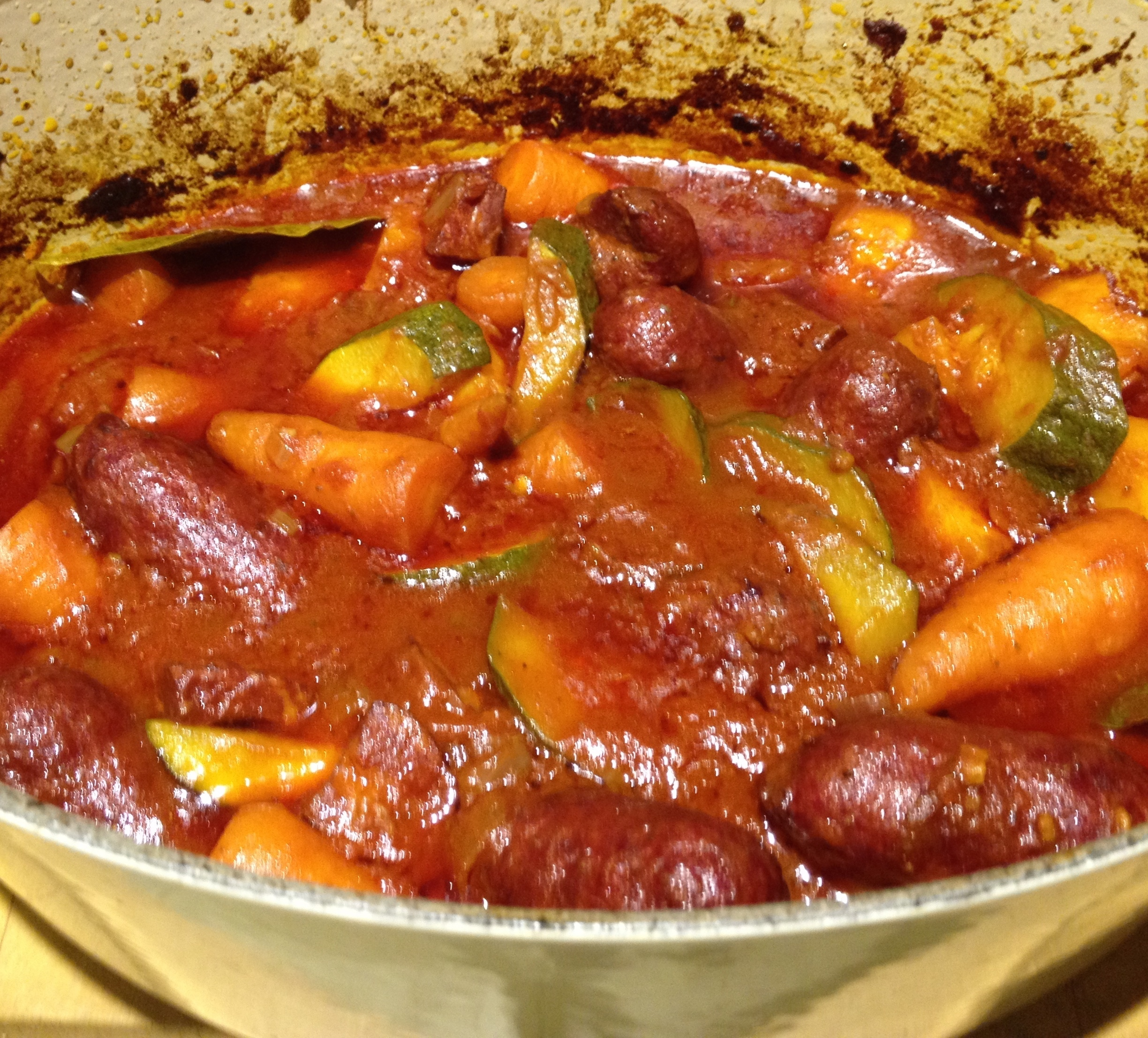 Braised Wild Boar Sausages with Tomatoes and Paprika
