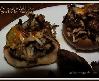 HAPPY NEW YEAR 2014! - Sausage & Wild Rice Stuffed Mushrooms