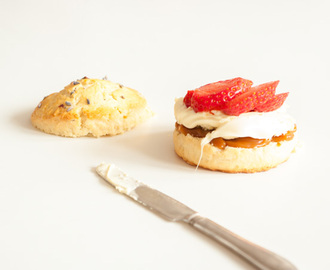 Salted Caramel Scones with Strawberries & Cream