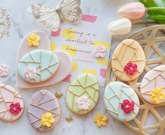 How to make GEOMETRIC EASTER EGG COOKIES with ROYAL ICING FLOWERS - Step by Step Tutorial