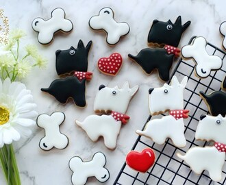 How to make CUTE SCOTTIE DOG COOKIES - Including chubby bone tutorial