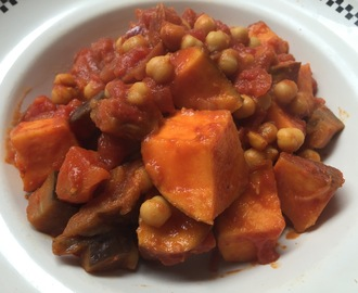 Aubergine, Sweet potato and Chickpea Curry