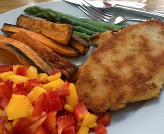 Turkey escalopes with sweet potato wedges and mango salsa