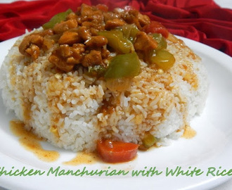 Quick Chicken Manchurian With White Rice