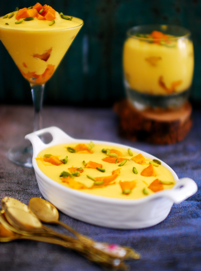 No Bake Eggless Mango Pudding