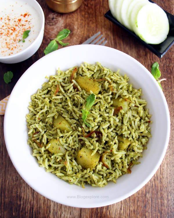 Mint Pulao Recipe ( Pudina Rice )