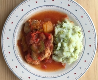 Chicken and Butternut Squash Casserole with Potato and Pea Mash - CookBlogShare Week 20