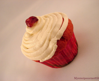 Red Velvet Cupcake with Cream Cheese Frosting.