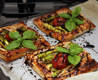 Vegan Tomato and Asparagus Tarts