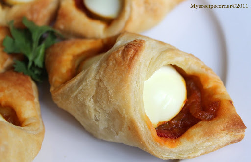 Egg Puffs( Indian style curried eggs in puff pastry)