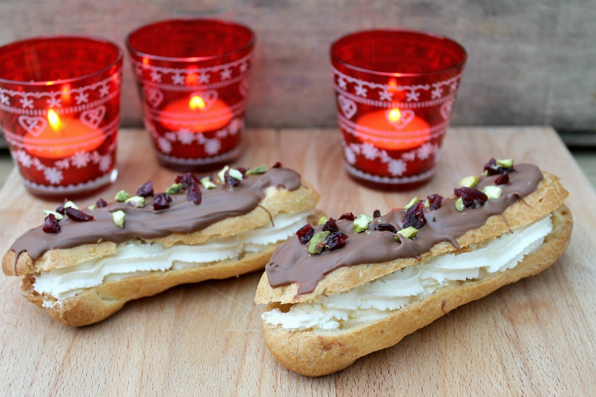 Chocolate Eclairs with Cranberry and Pistachio