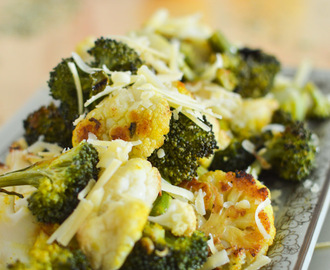 Garlic Lemon Roasted Cauliflower and Broccoli