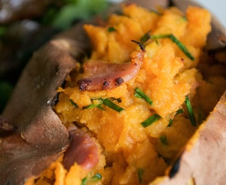 Bacon Stuffed Twice Baked Sweet Potato Jackets