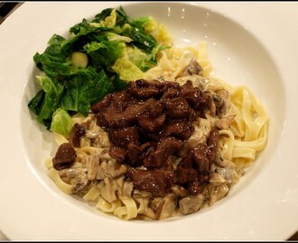Venison strips with Tagliatelle