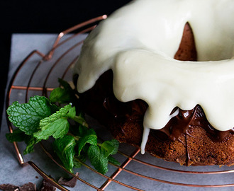 Bundt cake with chocolate glaze and mint frosting #BundtBakers