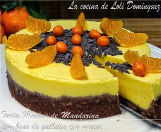Tarta Mousse de Mandarina con base de galletas con nueces
