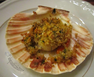Capesante gratinate al brandy senza glutine senza lattosio senza latte vaccino per il 100% GlutenFree(fri)Day #GFFD    ...   Sea Scallops au gratin with brandy gluten free dairy free cow milk free for 100%GlutenFree(fri)Day #GFFD