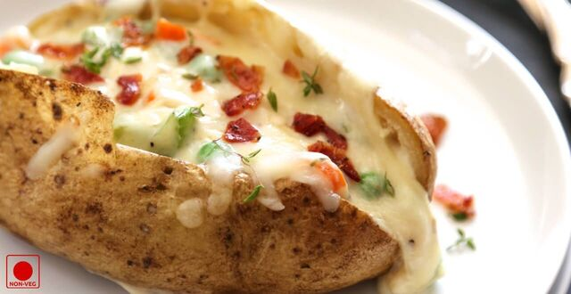 Baked Potatoes with Chicken & Cheese Recipe