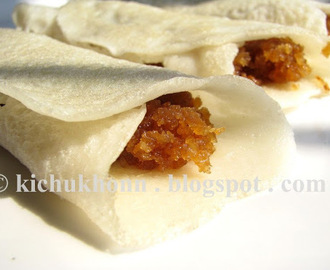 Patishapta / Rice crepes with coconut filling